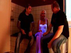 Blond whore blows her clients hard dick in Amsterdam