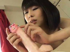 Sweet Asian Girl Abusing A Big Dildo