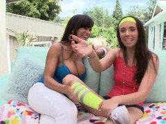 Stepmom Lisa Ann and teen Casey analyzed with big fat cock