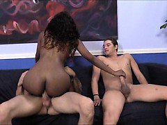 Sexy black chick Chanell Heart with two huge boners