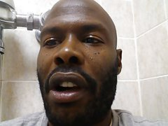 hot black guy with big cock jacks off in public bathroom