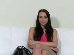 Slim brunette has gangbang casting in an office