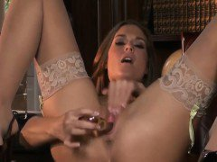 Babe Masturbates With A Dildo In The Office