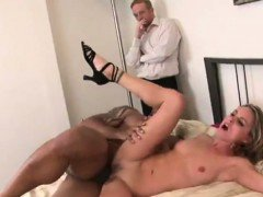 Hot Blonde Fucks A Huge Black Dick In Front Of Her Man