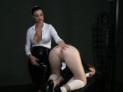 Tied up redhead student slave licks her mistress