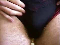 Guy In His Mom's Panties And Bathing Suit Close Up