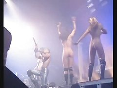 nude on stage gogo girls at rave-techno concert