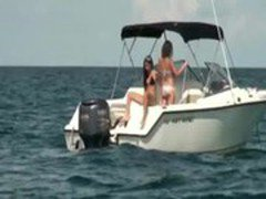 Two naughty amateur girls horny threesome on a speed boat