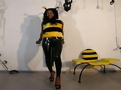 Black Teen dressed in bee gets fucked by an old man