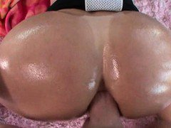 Oiled up slut gets ass pumped in POV style