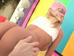 Blonde slut butt gaped and licked in close-up