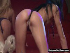 Hot blonde and sexy brunette give a lesbian live show on stage