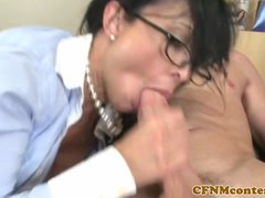 Busty CFNM doctor facialized by patients dick