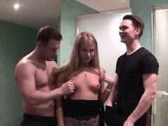 Wicked blonde girl enjoys two dicks at the same time