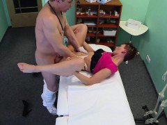 Doctor fucks short haired patient on security camera