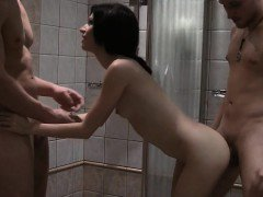 Cutie nailed in the shower in a MMF threesome video
