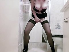 nice girl stocking self fingering in the toilets