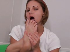 Kara's Foot tease and Licking cum off her feet
