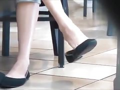 Candid Blonde Teen Feet Shoeplay Dangling Flats