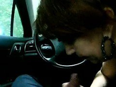 Mature Woman Giving Head In The Car POV