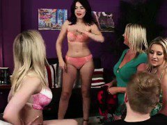 Striptease for CFNM amateur dude from British babes