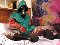 gasmask rainwear girl