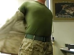 Str8 army soldier stroke in his office