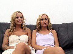 Two blondes audition for Backroom Casting Couch