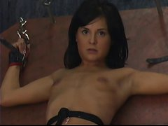 Small breasted brunette BDSM slut cunt hooked up to machine as torture