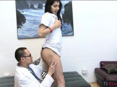 Tight brunette shemale Roxxy Thorn anal fucked by the doctor