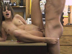 Brunette On A Desk In Pawn Shop Fucked In Multiple Positions