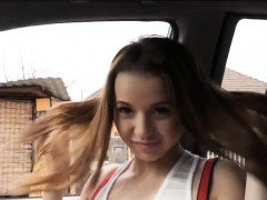 Pretty teen hitchhiker Olivia Grace gets fucked by dude