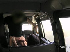 Petite brunette Brit fucking in fake taxi