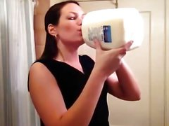 Amateur lady tries the milk challenge..