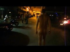 me naked at night at street