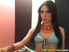 Hot ladyboy jerks off on cam