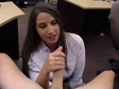Big butt amateur brunette babe gets drilled by pawn keeper