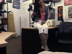 Sexy ebony slammed by horny pawn man for the golf clubs