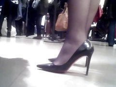 Hot Candid Black Pantyhose Heels Shopping