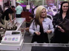 Pawn shop cash lures in lesbian amateurs on spycam