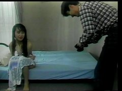Hot asian girl with sweet tits give a blowie and gets fucked by hard cock