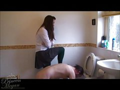 Schoolgirl uniform head flushes slave head in toilet CFNM
