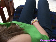 Cumswallowing college teen banged in dorm