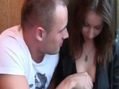 Horny guy is given a feel of her boob in a cafe booth