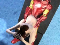 Busty 3D cartoon brunette babe fucked by Iron Man