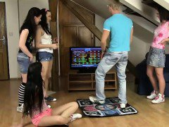CFNM teens playing the dance game and fucking their roommate