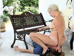 Chubby blond Jana facesits her slave wearing high-heels