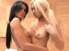 Two smoking hot teen babes tease and licked each others