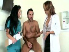 Doctors examine guys hard dick with their mouths