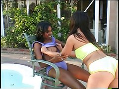 African beauty with small tits gets drilled with dildo by hotties by the pool